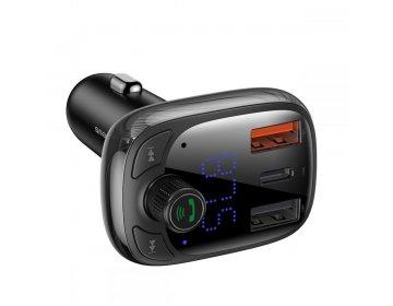 Baseus S13 2-PORT USB CAR CHARGER + TRANSMITER FM czarny
