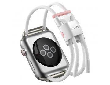 Baseus pasek do Apple Watch 42mm/44mm Let`s Go biało-różowy LBAPWA4-B24