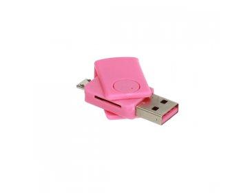 Czytnik kart micro SD > CR08 micro USB różowy